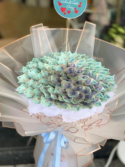 bó hoa bằng tiền